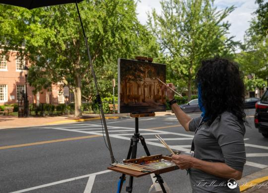 PAE Artist Kate McGraw painting the Courthouse.